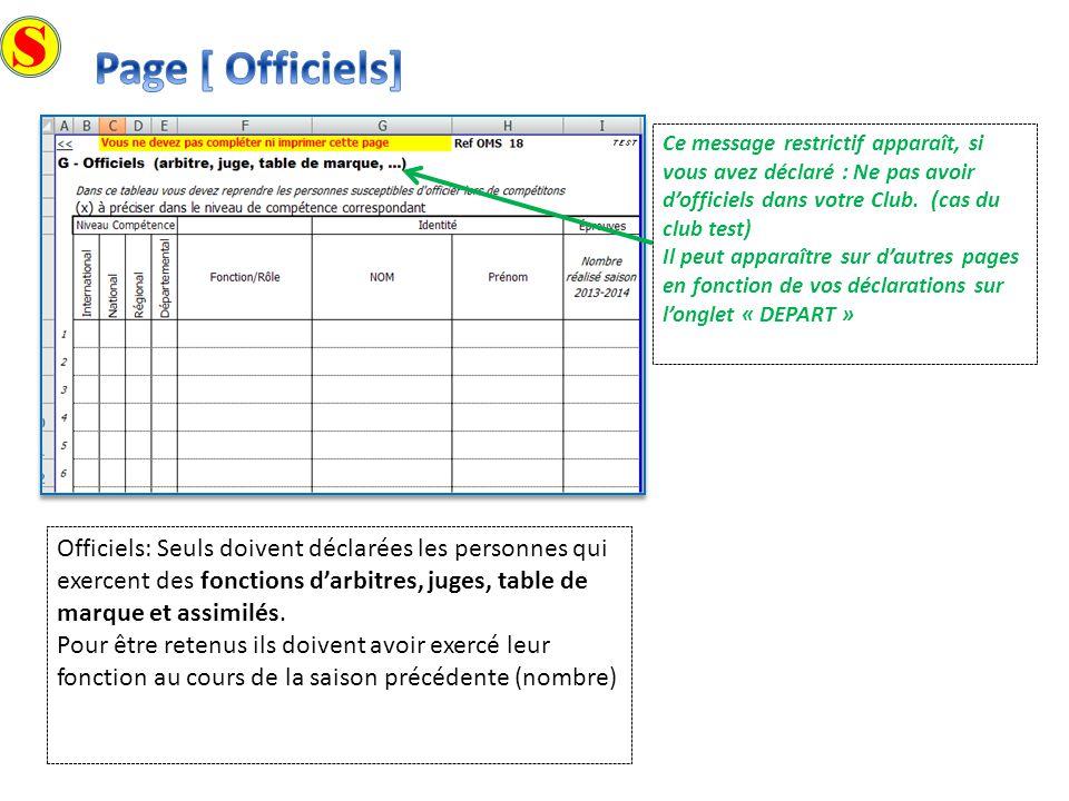 S Page [ Officiels] Ce message restrictif apparaît, si vous avez déclaré : Ne pas avoir d'officiels dans votre Club. (cas du club test)